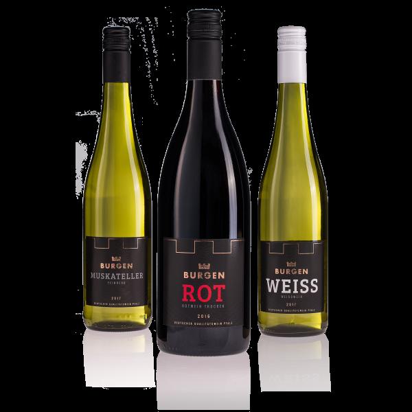 Burgen Wein 3er Pack (Rot, Weiss, Muskateller à 750ml)
