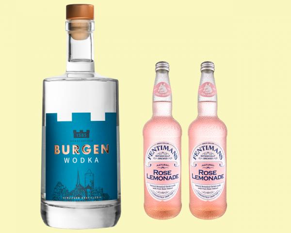 Burgen Wodka + 2 Flaschen Fentimans Rose LEMONADE