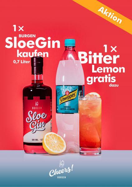 Sloe Gin plus Bitter Lemon