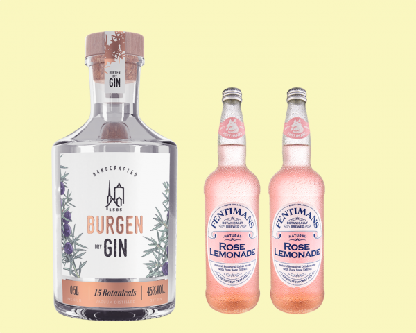 Burgen Dry Gin + 2 Flaschen Fentimans Rose LEMONADE
